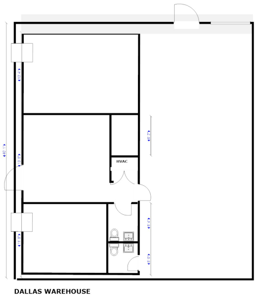 Office warehouse space dallas for Warehouse floor plan design
